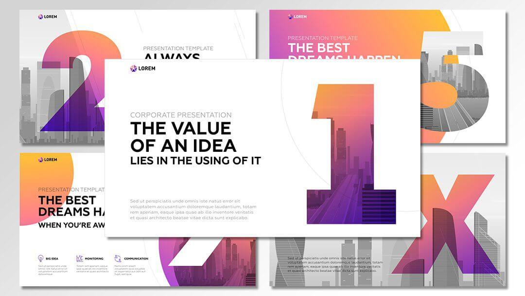 powerpoint agentur professionelle lila orange vorlagen content erstellung werbeagentur berlin corporate design