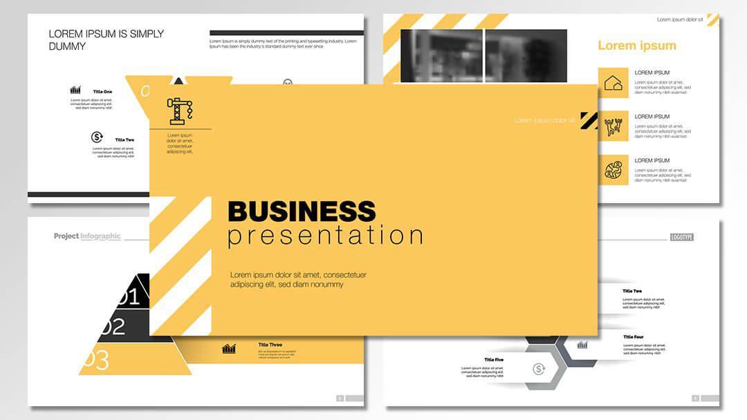 powerpoint agentur professionelle vorlagen yellow theme content erstellung werbeagentur berlin corporate design